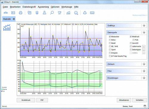 SiDiary - Diabetes Software - Statistik 1